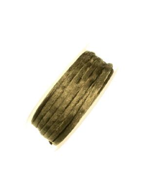 Nastro in lycra tubolare, spessore 5 mm., con cucitura a vista a lato, colore Verde oliva effetto velluto
