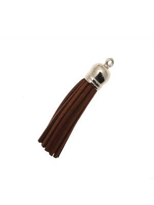 Nappina in alcantara con coppetta in resina galvanizzata, con anellino, lunghezza totale 6 cm., colore Marrone