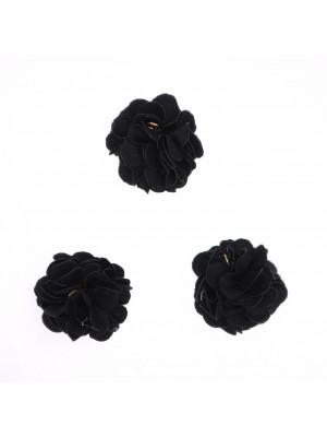 Nappina a fiore in tessuto, diametro 22 mm, colore NERO, con chiodino a 9, oro lucido