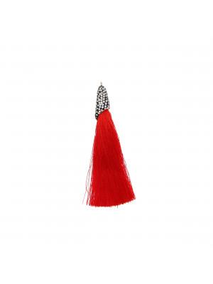 Nappina in poliestere con coppetta ricoperta di strass, con anellino, lunghezza totale 8 cm., colore Rosso