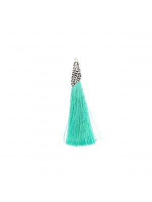 Nappina in poliestere con coppetta ricoperta di strass, con anellino, lunghezza totale 8 cm., colore Verde Acqua