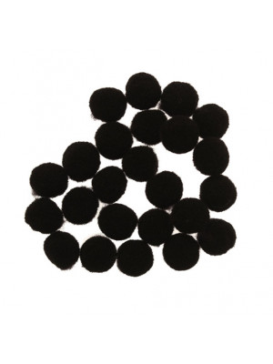 Pon Pon in nylon, diametro 10 mm., colore NERO