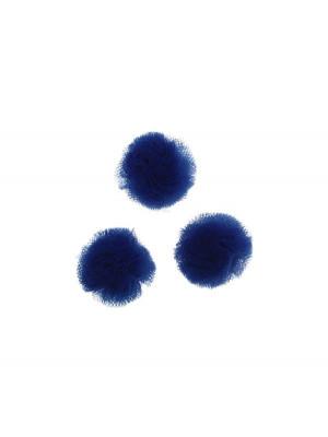 Pon Pon, in tulle, tondo, diametro 20 mm., colore BLU ELETTRICO
