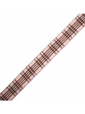 Nastro sintetico scozzese, alto 15 mm., colore MARRONEROSAAZZURRO