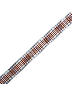Nastro sintetico scozzese, alto 15 mm., colore MARRONEAZZURROBLU