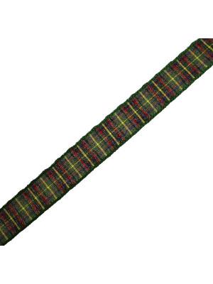 Nastro sintetico scozzese, alto 15 mm., colore VERDEROSSOBLUGIALLO