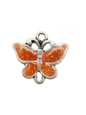 Ciondolo smaltato a forma di farfalla piatta 23x23 mm. Base Argento antico