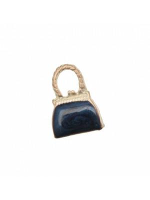 Ciondolo smaltato a forma di borsetta liscia con smalto perlato 16x22 mm. Base argento ramato