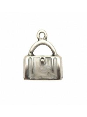 Ciondolo smaltato a forma di borsetta rettangolare 15x9 mm. Base argento antico