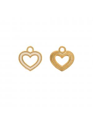 Ciondolo a forma di cuore, forato al centro, 14x15 mm., base Oro Lucido, colore smalto Bianco