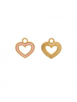 Ciondolo a forma di cuore, forato al centro, 14x15 mm., base Oro Lucido, colore smalto Rosa