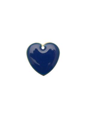 Ciondolo a Cuore, 15x15 mm., smaltato Blu