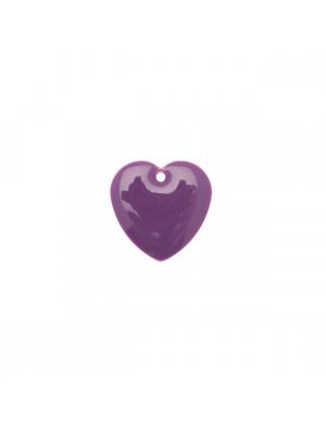 Ciondolo a Cuore, 15x15 mm., smaltato Viola
