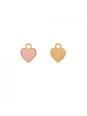 Ciondolo a forma di cuore, liscio, 10x12 mm., base Oro Lucido, colore smalto Rosa