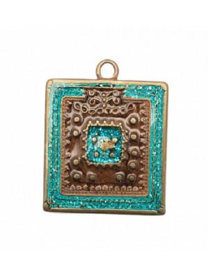 Ciondolo smaltato a forma di quadrato disegnato indiano gigante 31x30 mm. Base ottone antico