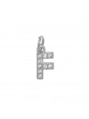 """Ciondolo a forma di lettera """"F"""", 9x4 mm., strass colore Crystal, base colore Argento Rodio"""