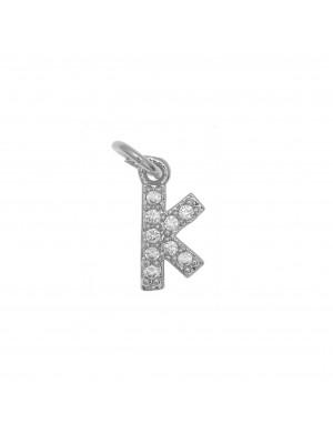 """Ciondolo a forma di lettera """"K"""", 9x4 mm., strass colore Crystal, base colore Argento Rodio"""