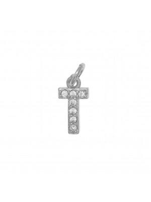"""Ciondolo a forma di lettera """"T"""", 9x4 mm., strass colore Crystal, base colore Argento Rodio"""