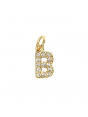 """Ciondolo a forma di lettera """"B"""", 9x4 mm., strass colore Crsytal, base colore Oro Lucido"""