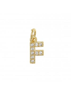 """Ciondolo a forma di lettera """"F"""", 9x4 mm., strass colore Crsytal, base colore Oro Lucido"""
