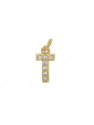 """Ciondolo a forma di lettera """"T"""", 9x4 mm., strass colore Crsytal, base colore Oro Lucido"""