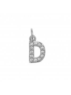 """Ciondolo a forma di lettera """"D"""", 9x5 mm., strass colore Crystal, base colore Argento Rodio"""