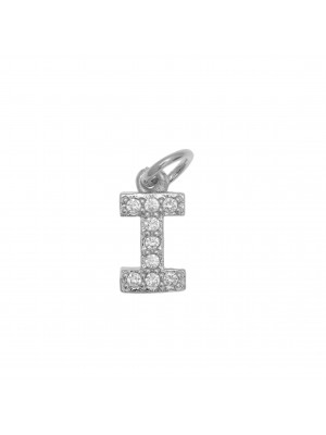 """Ciondolo a forma di lettera """"I"""", 9x5 mm., strass colore Crystal, base colore Argento Rodio"""