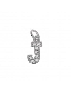"""Ciondolo a forma di lettera """"J"""", 9x5 mm., strass colore Crystal, base colore Argento Rodio"""