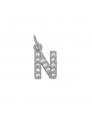 """Ciondolo a forma di lettera """"N"""", 9x5 mm., strass colore Crystal, base colore Argento Rodio"""
