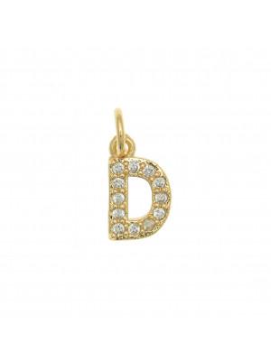 """Ciondolo a forma di lettera """"D"""", 9x5 mm., strass colore Crsytal, base colore Oro Lucido"""