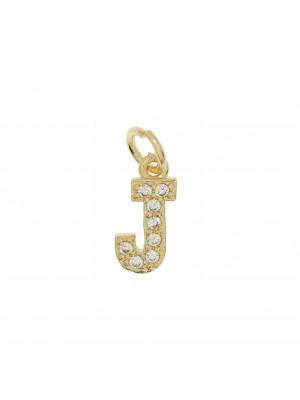 """Ciondolo a forma di lettera """"J"""", 9x5 mm., strass colore Crsytal, base colore Oro Lucido"""