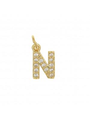 """Ciondolo a forma di lettera """"N"""", 9x5 mm., strass colore Crsytal, base colore Oro Lucido"""