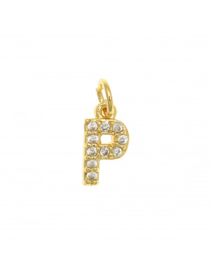 """Ciondolo a forma di lettera """"P"""", 9x5 mm., strass colore Crsytal, base colore Oro Lucido"""