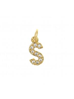"""Ciondolo a forma di lettera """"S"""", 9x5 mm., strass colore Crsytal, base colore Oro Lucido"""