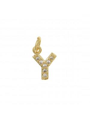 """Ciondolo a forma di lettera """"Y"""", 9x6 mm., strass colore Crsytal, base colore Oro Lucido"""