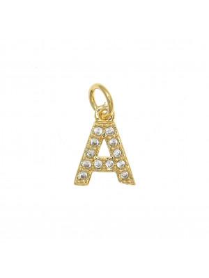 """Ciondolo a forma di lettera """"A"""", 9x7 mm., strass colore Crsytal, base colore Oro Lucido"""