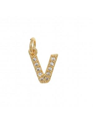 """Ciondolo a forma di lettera """"V"""", 9x7 mm., strass colore Crsytal, base colore Oro Lucido"""