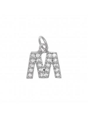 """Ciondolo a forma di lettera """"M"""", 9x9 mm., strass colore Crystal, base colore Argento Rodio"""