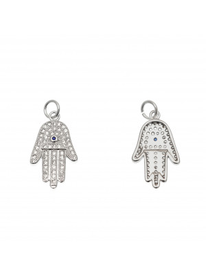 Ciondolo a forma di mano di Fatima con strass color Crystal, strass centrale Blu, 12x20 mm., colore base Argento Rodio