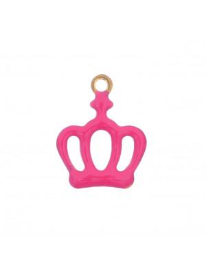 Ciondolo a forma di Corona, 11x13 mm., colore Oro Lucido, colore smalto Fucsia