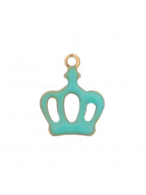 Ciondolo a forma di Corona, 11x13 mm., colore Oro Lucido, colore smalto Verde Acqua