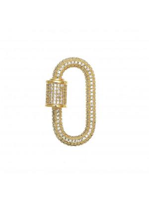 Ciondolo a forma di ovale, con chiusura a vite, con strass Crystal, 29x17 mm., base in metallo colore Oro Lucido