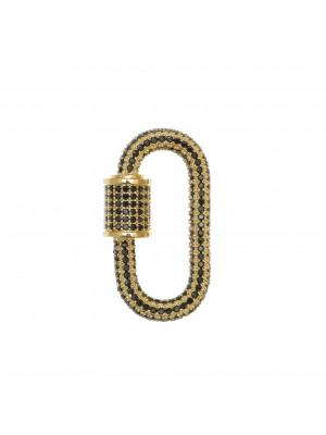 Ciondolo a forma di ovale, con chiusura a vite, con strass Nero, 29x17 mm., base in metallo colore Oro Lucido