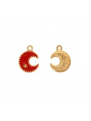 Ciondolo a forma di Luna+stellina, 13x16 mm., base in metallo Oro Lucido, colore smalto Rosso