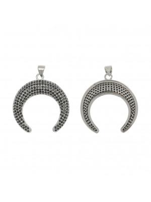 Ciondolo a forma di mezzaluna, con strass Nero, 29x30 mm., base in metallo colore Argento Rodio