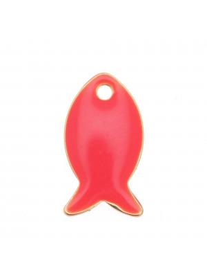 Ciondolo a forma di pesciolino, 14x8 mm., smaltato Corallo Fluo