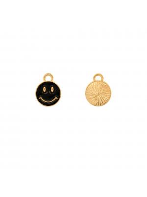 Ciondolo a forma di tondo con SMILE, 10x12 mm., colore Oro Lucido, colore smalto Nero