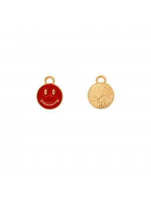 Ciondolo a forma di tondo con SMILE, 10x12 mm., colore Oro Lucido, colore smalto Rosso