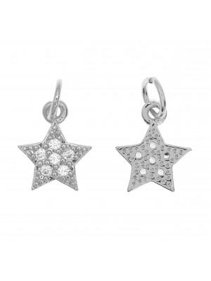 Ciondolo a forma di stella, con strass Crystal, 11x9 mm., base in metallo colore Argento Rodio