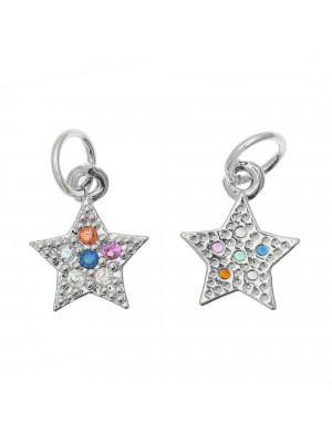 Ciondolo a forma di stella, con strass Multicolor, 11x9 mm., base in metallo colore Argento Rodio
